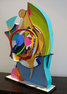 corrugated cardboard sculpture inspired by frank stella