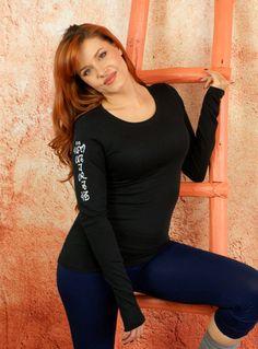 Om Mani Padme Hum- Black Long Sleeve V-Neck Tee Shirt Sexy Soft Athletic Yoga Pilates by Goddess Gear Designs $25.00 USD  #Sweter #goddessgeardesigns #yogagear www.etsy.com/il-en/shop/GoddessGearDesigns