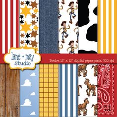 woody cowboy themed digital scrapbook papers by laneandmay on Etsy,