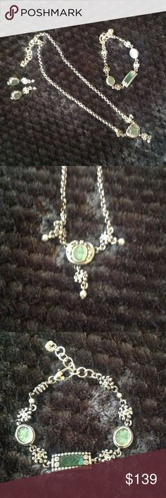 """NEW! BRIGHTON 3-PC JEWELRY SET NEW! BRIGHTON 3-PC JEWELRY SET Never Worn, & is in MINT CONDITION!! The necklace is 18"""" in length. The bracelet is 9"""" in length, & fits up to an 8"""" wrist. The earring are 1 1/2"""" in length...Beautiful Set! Brighton Jewelry Necklaces"""
