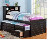 Harriett bee dolson black finish wood panel design twin trundle bed bookcase headboard and drawers. This set includes the Bookcase headboard, Trundle bed pull out 3 built in drawers. Some assembly required. Twin Bed With Drawers, Trundle Bed With Storage, Twin Trundle Bed, Bed Storage, Storage Drawers, Bed Drawers, Extra Storage, Storage Ideas, Storage Headboard