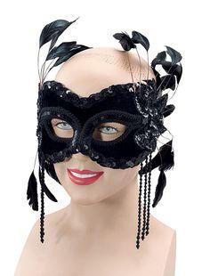 Black Velvet Mask & Feathers « Masquerade Masks Shop | Venetian Masks | Masquerade Ball Masks | Mask