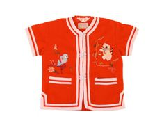 Vintage Toddler Kimono Shirt Red Embroidered Fish by TwitchTots, $11.00
