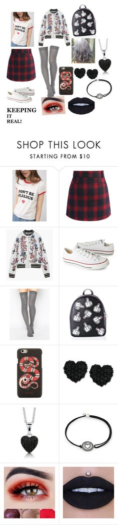 """Obsessive ex best friend stalking me"" by sweetheart-the-moonbear ❤ liked on Polyvore featuring Chicwish, Converse, ASOS, Current Mood, Gucci, Betsey Johnson, BERRICLE and Alex and Ani"