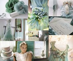 Jade Green and Ice Blue Inspiration Board from Elizabeth Anne Designs