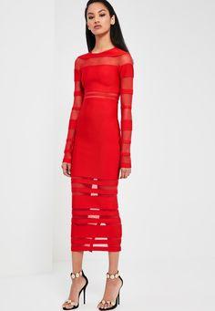 Missguided - Peace   Love Red Mesh Premium Bandage Midi Dress