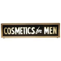 1950s Reverse Glass Barber Shop Sign 'Cosmetics for Men' | 1stdibs.com