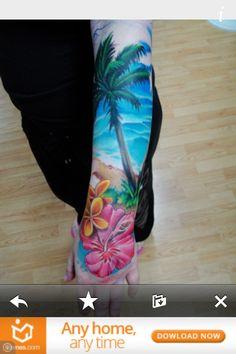 Résultats de recherche d'images pour «sunset beach hibiscus tattoo watercolor»