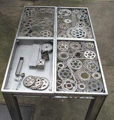 stół design z części rowerowych - loft, industrial