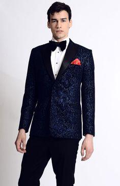 High Fashion Navy Blue and Black Men's Printed Blazer