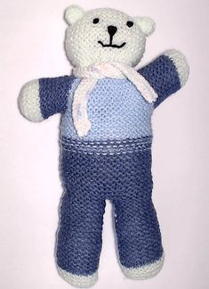 Charity bear made by Blue Light Babies, UK, for yarndale.co.uk Knitting Designs, Knitting Projects, Knitting Patterns, Great Hobbies, Crochet Bear, Knitting For Beginners, Charity, Light Blue, Teddy Bear