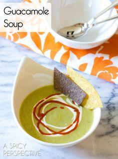 Healthy Guacamole Soup Recipe   ASpicyPerspective.com