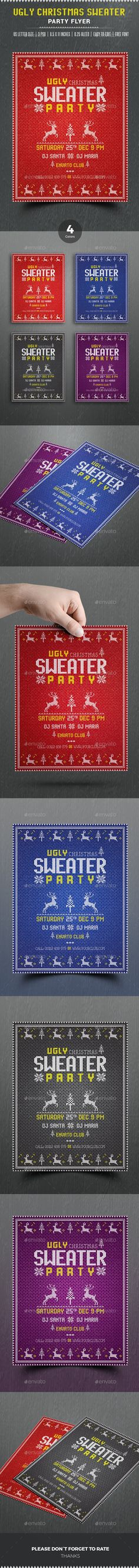 Buy Ugly Sweater Christmas Flyer by themedevisers on GraphicRiver. Features of Flyer US Letter Paper Size With Bleed 4 Different Color Variat. Christmas Flyer Template, Christmas Templates, Free Flyer Templates, Event Flyer Templates, Ugly Sweater, Ugly Christmas Sweater, Invitation Flyer, Presentation Design Template, New Years Poster