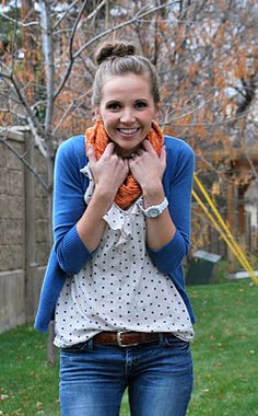 fall fashion | jeans, polka dot shirt, sweater, scarf