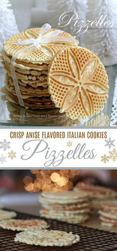 Pizzelles are a crisp Italian cookie flavored with anise seed. An easy recipe fr. - Pizzelles are a crisp Italian cookie flavored with anise seed. An easy recipe from a neighbor and t - Cookie Flavors, Cookie Desserts, Christmas Desserts, Christmas Baking, Dessert Recipes, Gourmet Desserts, Plated Desserts, Pizzelle Cookies, Anise Cookies