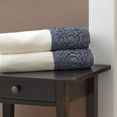 Croscill Giralda Towels in slate. The cotton terry towels feature borders running across top and bottom that use a special, three dimensional, hand done technique rare to find today. #towels #bathroom #homedecor