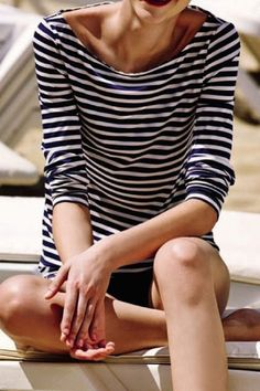 stripped navy blue and white shirt