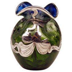 Vase Loetz Widow Art Nouveau, Titania Cobalt Blue Silver Overlay, circa 1905.