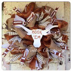 Texas Longhorns Deco Mesh Wreath by FosterCreativity on Etsy, $95.00
