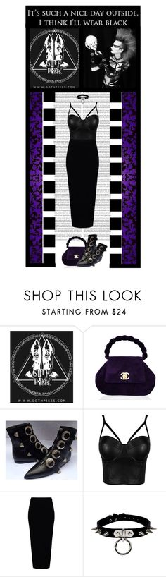 """""""Goth Pikes (43)"""" by irresistible-livingdeadgirl ❤ liked on Polyvore featuring Chanel, Rick Owens, black, Punk, goth and polyvoreeditorial"""