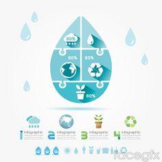 Creative drops eco infographic vector