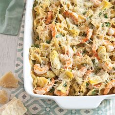 Lemony Shrimp, Mushroom & Artichoke Casserole - To Southerners, there's nothing more comforting than a shrimp casserole! Artichoke Casserole Recipe, Shrimp Casserole, Artichoke Recipes, Casserole Dishes, Best Casserole Recipes Ever, Healthy Casserole Recipes, Delicious Recipes, Fish Recipes, Seafood Recipes