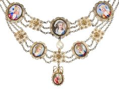 18thC Enamel Festoon Necklace, c.1780. The festoon necklace may be the most feminine of all necklaces. This scarce and fine example circa 1780 is of filigree vermeil and features eight hand painted enamel plaques placed on two swags and conclude with a plaque as a drop. Each of the oval plaques is detailed with a portrait of a French woman garbed in regional dress. The necklace finishes on each end with an open fitting through which a length of ribbon is threaded.