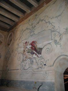 decorazione settecentesca in una camera delcastello di bevilacqua , verona | Italian Frescoes