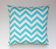 "Decorative Throw Pillow cover, Chevron, Zigzag, Nursery, Tween, Teen, Dorm, Girly Blue, size 20"" x 20"" Pillow Cover"