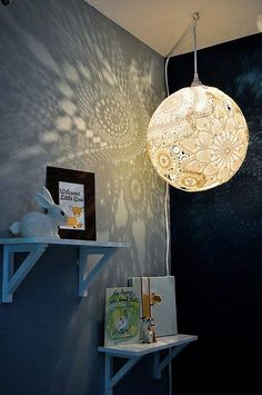 Lace Lamp-no source. Wouldn't be too hard with a balloon and Mod Podge maybe. I'm new to Mod Pdge though. Love it!