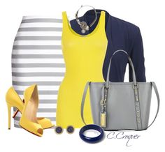 """""""Navy+Grey+Yellow"""" by ccroquer ❤ liked on Polyvore featuring maurices, Kate Spade, Christian Louboutin, iHeart, River Island, Vanity Her and Dorothy Perkins"""