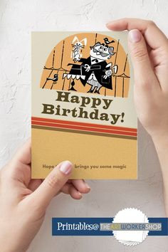 Printable Birthday Card Magical Birthday Card Magic Design | Etsy It's Your Birthday, Birthday Cards, Opening An Etsy Shop, Magic Design, Novelty Items, How To Make Paper, Letter Size, Folded Cards, Blank Cards