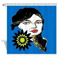 Lady with Flower Shower Curtain