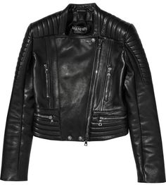 $5,140, Balmain Quilted Leather Biker Jacket. Sold by NET-A-PORTER.COM. Click for more info: https://lookastic.com/women/shop_items/97322/redirect