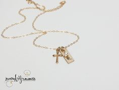 Personalized Gold Necklace - Cross Charm - First Communion - Bar - Monogram Initial - Godmother - Childs - Handmade - Hand Stamped - Engraved - Mother - Girls - Gift - Birthday - $47 at www.jewerlybyrmsmith.com