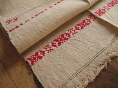 ドイツアンティークホームスパンリネン刺繍フリンジ Antique linen ¥1900yen 〆04月05日