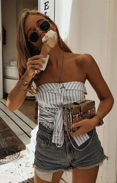 #fall #outfits women's white and gray striped tube shirt and gray cuff shorts