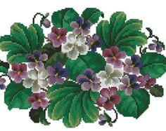 Small violets flowers antique digital cross stitch pattern