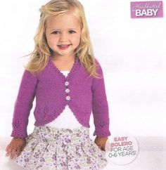 New Ideas Knitting Baby Patterns Girl Tricot Baby Knitting Patterns, Baby Cardigan Knitting Pattern, Crochet Cardigan Pattern, Free Knitting, Baby Patterns, Crochet Shrugs, Bolero Pattern, Free Pattern, Crochet Patterns