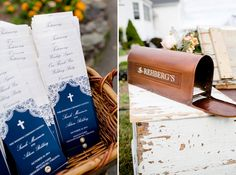Custom wedding programs in navy. Personalized card mail box.  Carley Rehberg Photography