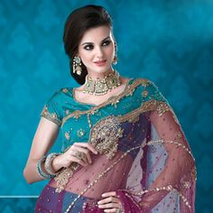 Dark Magenta and Turquoise Net Lehenga Style Saree with Blouse