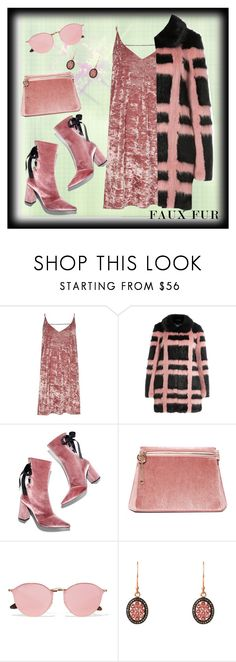 """""""Pink, Plaid with a Clutch"""" by dobesht ❤ liked on Polyvore featuring River Island, Shrimps, Robert Clergerie, Cafuné, Ray-Ban and Latelita"""