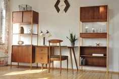 Mid Century Bookcase Room Divider Cabinets Danish Eames Era | eBay