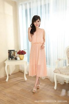Fashion Slim Round Neck Sleeveless Chiffon Dress Bohemian Polka Dot  Item number:WH14042903-2 Wholesale price:US$ 10.81