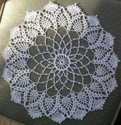 "Hand Crochet Doily - ""Pineapple and Fans"" Pineapple and Fans is a Hand Crochet Doily made in white. It measures 16"" inches across. Created in the USA. PH-2131 $55.00 + S&H **FREE SHIPPING ON ALL PURCH"