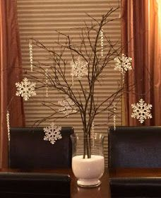 Toys would be pretty with crochet snowflakes - Branches, Epsom salt, snowflake and icicle ornaments as a centerpiece. Snowflake Centerpieces, Winter Centerpieces, Xmas Decorations, Cheap Christmas Centerpieces, Winter Wonderland Centerpieces, Christmas Decor Diy Cheap, After Christmas, All Things Christmas, Christmas Home