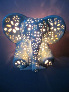 Ceramic elephant night light by LilysLights on Etsy Elephant Room, Ceramic Elephant, Grey Elephant, Elephant Stuff, Elephant Lamp, Baby Elephant Walk, Elephant Themed Nursery, Elephant Mugs, Baby Hippo