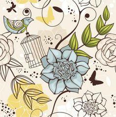patrón floral con el pájaro azul