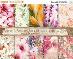 ON SALE Digital SHABBY Chic paper Digital paper printable download  backdrop paper textured digital texture  Des. 011  Flowers on China Silk