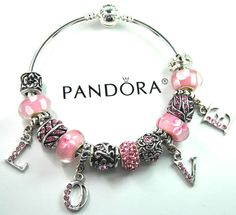 Authentic Pandora Silver bangle bracelet with European Charms Heart Love Flower #Pandoralobsterbangleclaspclaw #European